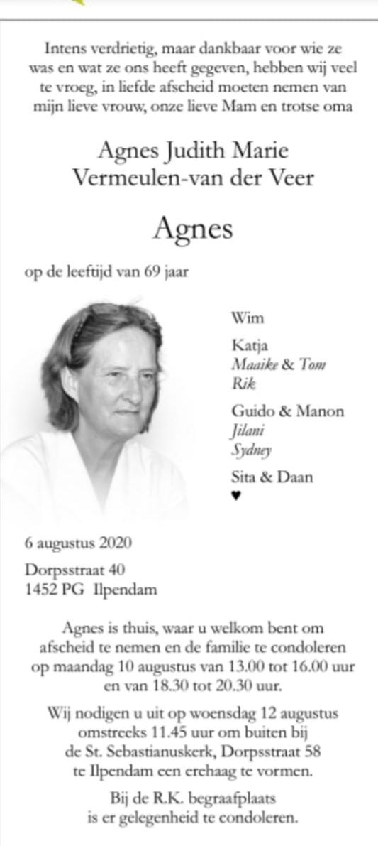 Overlijden Agnes Vermeulen